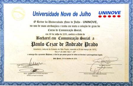 Diploma do Paulinho (frente