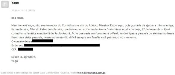 Email de Yago para o Corinthians