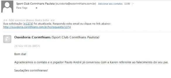 Email do Corinthians para Yago