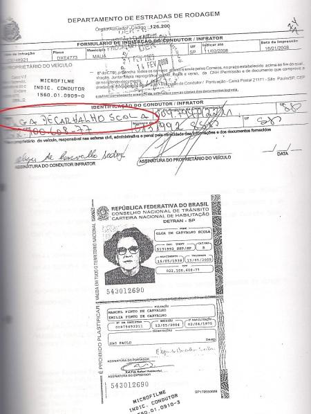 Identificação condutor com documento de olga
