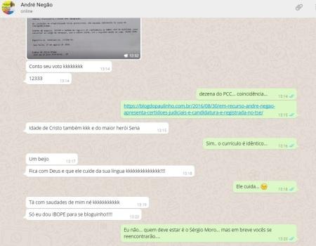 André Negão conversa waths com Paulinho